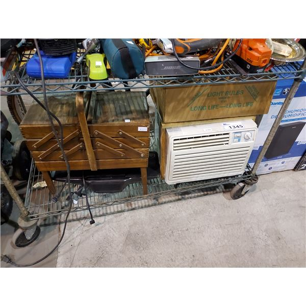 WINDOW AIR CONDITIONER, LIGHT BULBS, SMALL STEREO, THREAD ORGANIZER
