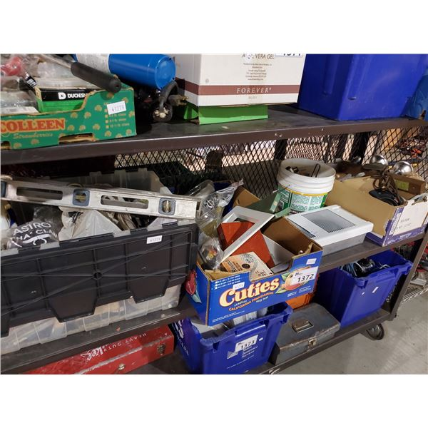SHELF LOT OF SMALL HAND TOOLS, LEVELS, SOCKETS, LIGHTING, ELECTRICAL, PLUMBING SUPPLY, ETC