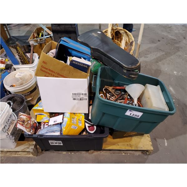 PALLET OF HOUSEHOLD ITEMS, TOOLS, ETC (STUFFIES, EXTENSION CORDS, JUMPER CABLES, CDS, VHS TAPES,