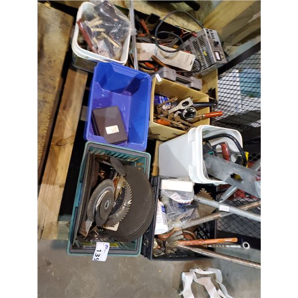 PALLET OF HAND TOOLS, HARDWARE, CUTTING DISCS, ETC