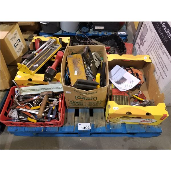 PALLET OF ASSORTED SMALL HAND TOOLS, HARDWARE, DRILL BITS, STAPLE GUNS, ETC