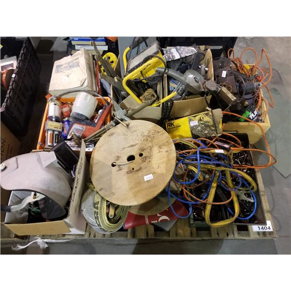 PALLET OF HAND TOOLS, EXTENSION CORDS, WIRE, HARDWARE, ETC