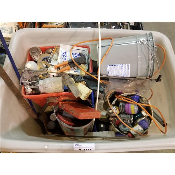 BIN OF ASSORTED HAND TOOLS, SPRAY GUNS, SPRAY PAINT, PAINT, ETC (BIN NOT INCLUDED)