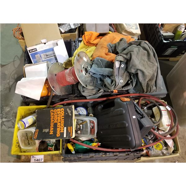 PALLET OF HARDWARE, WIRE, TOOL CASES, WORK CLOTHES, ETC