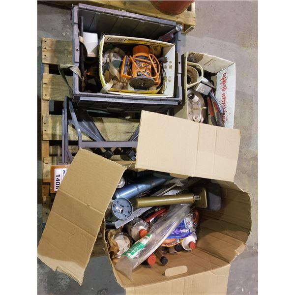 PALLET OF WORK MATE BENCHES, ROUTER, ASSORTED TOOLS, FLUIDS, ETC