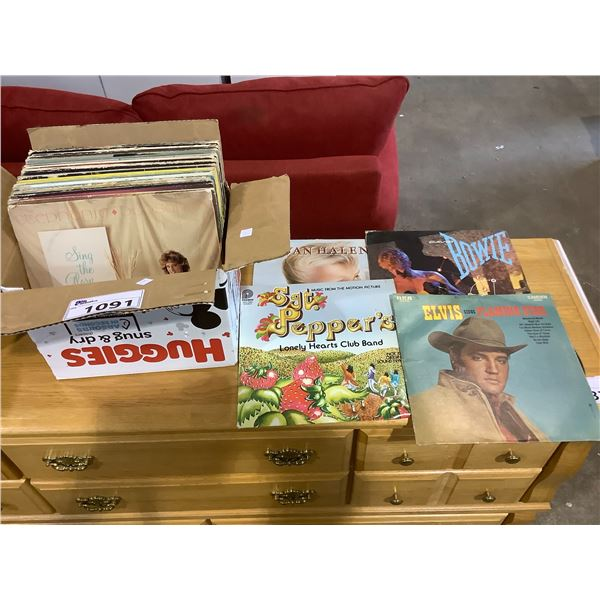 ASSORTED VINYL RECORDS INCLUDING: ELVIS, KENNY ROGERS, DAVID BOWIE, AND MORE