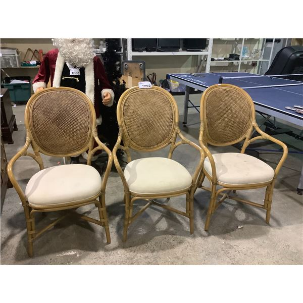 3 WICKER BACK CHAIRS