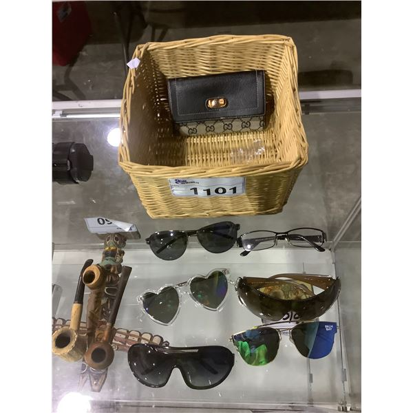 WICKER BASKET, PRESCRIPTION GLASSES, ASSORTED SUNGLASSES, WALLET, AND PIPES