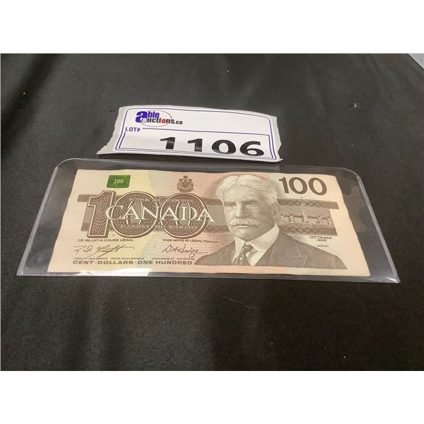 100 CANADIAN DOLLAR BILL 1988