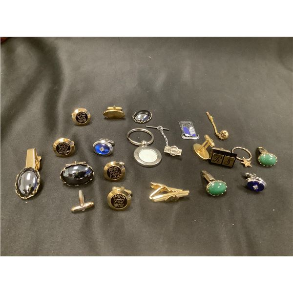 ASSORTED CUFF LINKS, TIE CLIPS, PIN , AND MORE
