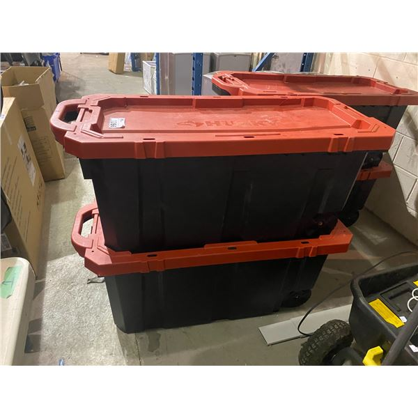 2 HUSKY 45 GALLON LATCH AND STACK TOTES