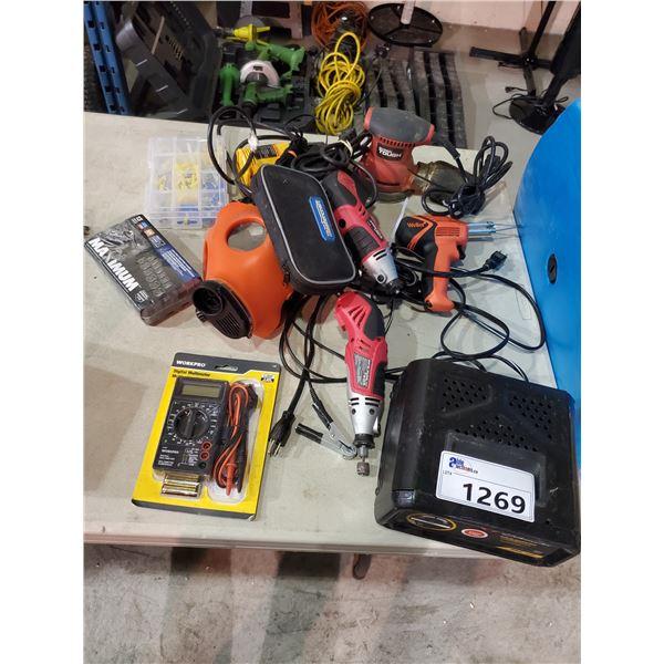DRILLS, ELECTRIC SANDER, WORKPRO DIGITAL MULTIMETER, MAXIMUM SOCKETS, BATTERY CHARGER, GAS MASK, ETC