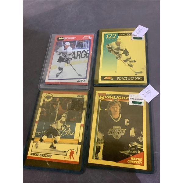 4 WAYNE GRETZKY HOCKEY CARDS