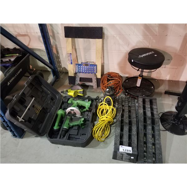 HUSKY MECHANIC STOOL, AUTOMOTIVE RAMPS, EXTENSION CORDS, DOLLY, POWER TOOLS, ETC