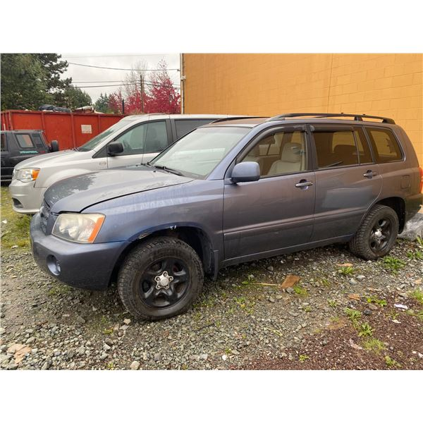 2001 TOYOTA HIGHLANDER, GREY, 4DRSW, GAS, AUTOMATIC, VIN JTEHF21A310023659, 148,246KMS, RD,CD,PW,