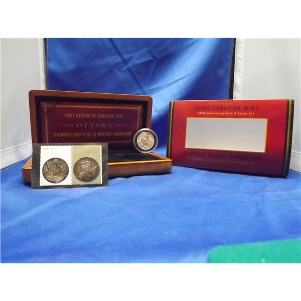 2008 RCM 50 cent sterling silver coin. Proof finish. 2 - 52 cent mint stamps. 100th anniversary addi