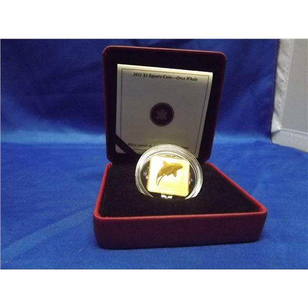 2011 RCM 3 dollar square coin. Orca Whale. Sterling silver gold plated. Square. 27 milimeters. 11.71