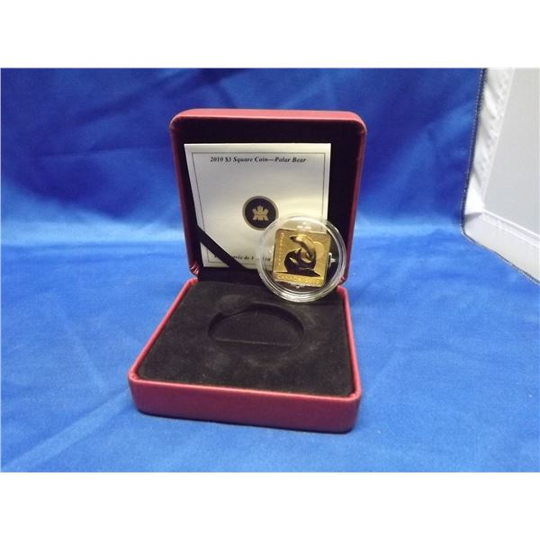2010 RCM 3 dollar square sterling silver gold plated coin polar bear (D&M)