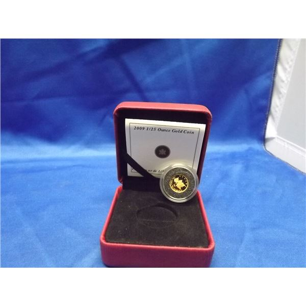 2009 RCM gold coin 1/25 ounce. 99.99% pure gold (D&M)