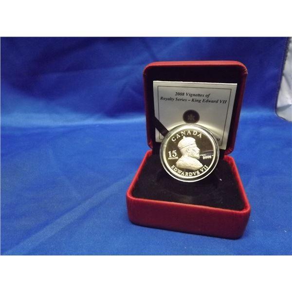 2008 RCM 15 dollar coin. Vignettes of Royal series King Edward  VII silver coin (D&M)