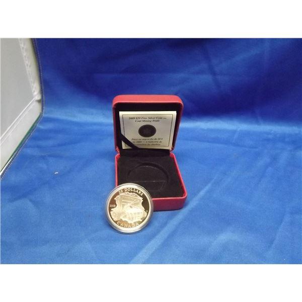 2009 RCM 20 Dollar fine silver coin. Coal mine train (D&M)
