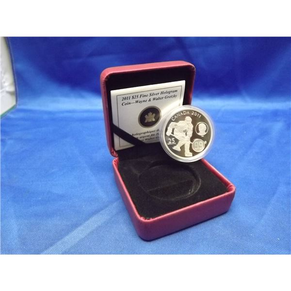 2011 RCM 25 dollar fine silver hologram coin. Walter and Wayne Gretzky. 99.99% fine silver. (D&M)