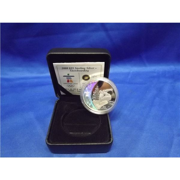 2008 RCM Sterling silver 25 dollar hollogram coin. Snowboarding olympic Vanvouver coin (D&M)