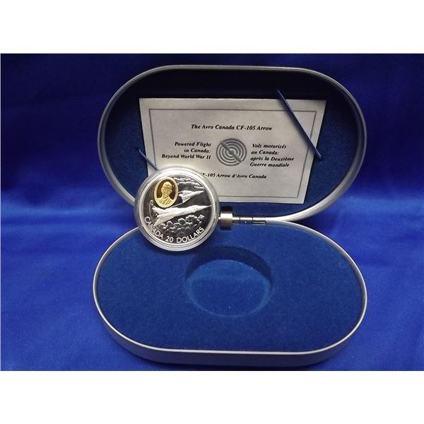 1996 RCM 20 dollar coin . Avro Canada CF-105 arrow (D&M)