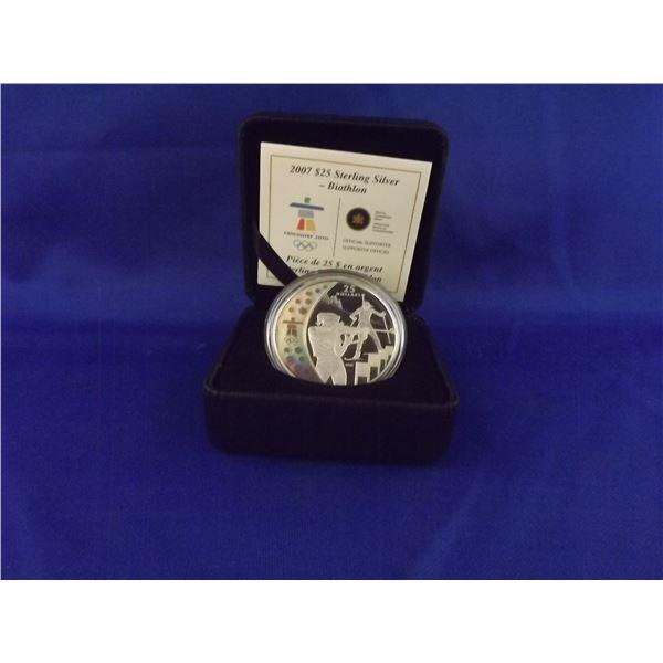 2007 RCM Olympic 25 dollar sterling silver Biathlon Hologram coin (D&M)