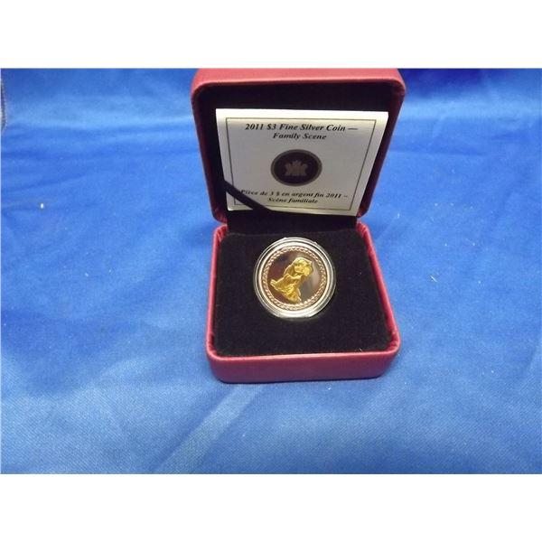 2011 RCM 3 dollar fine silver coin family scene (D&M)