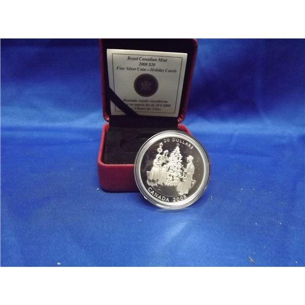2008 RCM 20 dollar fine silver coin Holiday Carols (D&M)
