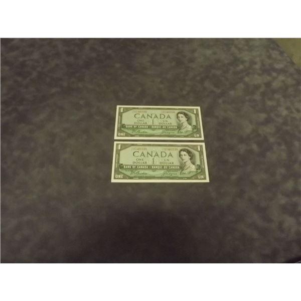 2 1954 Canadian One dollar bills. Crisp. Uncirculated (D&M)