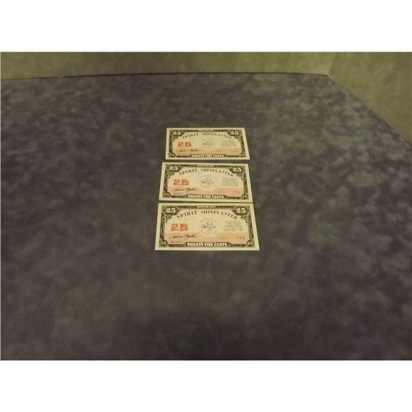 3 - 25 cent Shin Plaster novelty bills (D&M)