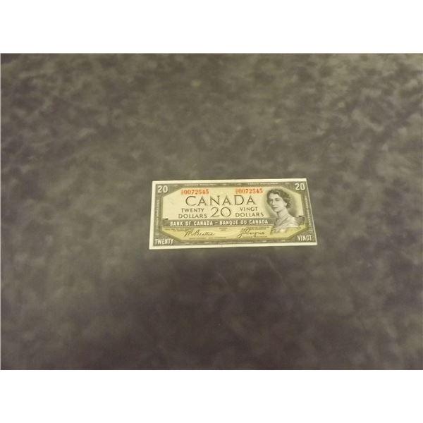 1954 Canadian Devil's face $20 bill. Crisp. Uncirculate. Error off cut (D&M)