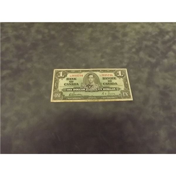1937 Canadian One dollar bank note. Circulated (D&M)