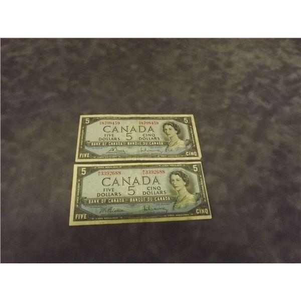 2- 1954 Canadian $5  dollar bills (D&M)