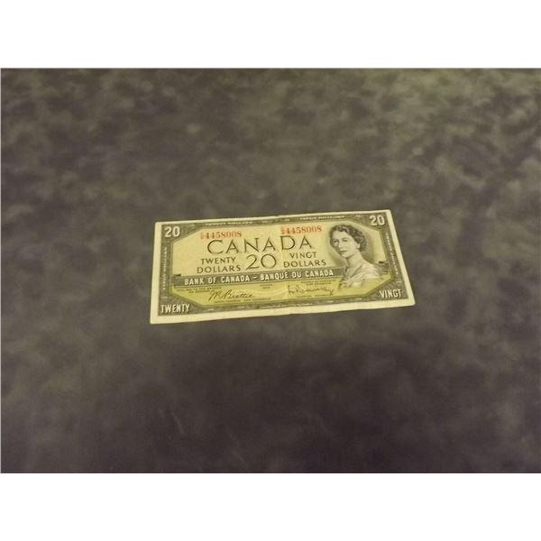 1954 Canadian $20 Dollar bill. Circulated. (D&M)