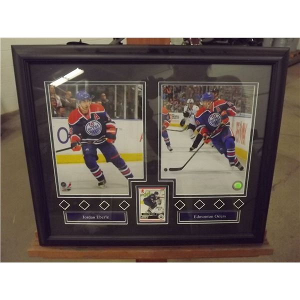 Framed Jordan Eberle Photos and Hockey card (D&M)