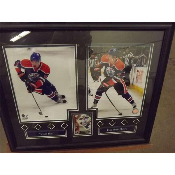Framed Taylor Hall Photos and Hockey card (D&M)