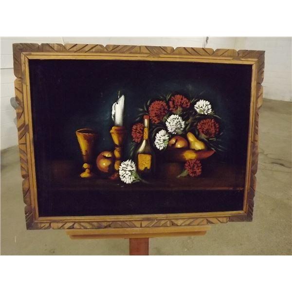 Mid-century modern Black Velvet Painting. Still life.  (O)