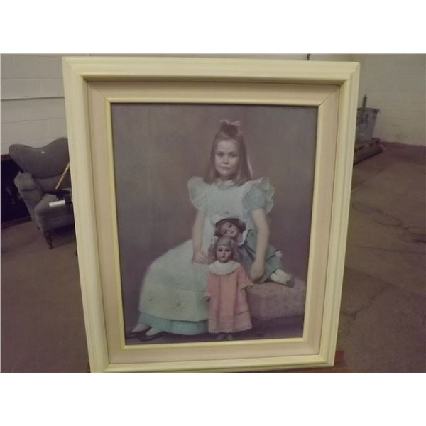 Original painting by Mary Rose Palau 1973 Oil on Canvas. Young girl with dolls (O)