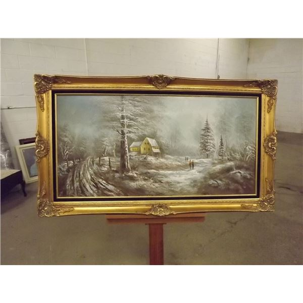 Winter Farm Scene painting signed by Julian. Ornate filded frame (0)