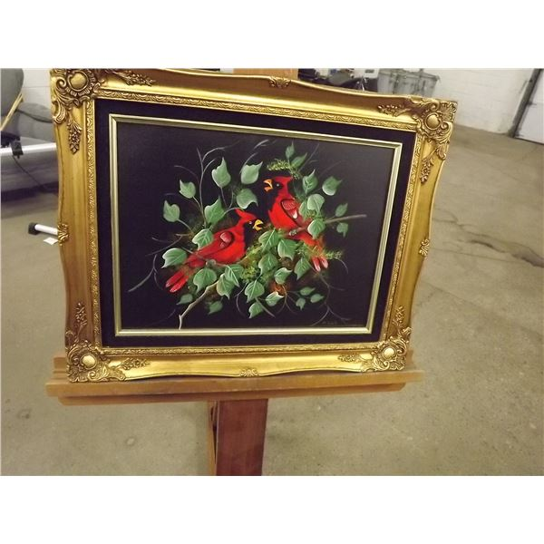 Original oil on canvas Pair of Cardinals. Signed by M. Lak Ornate gilded frame (O)