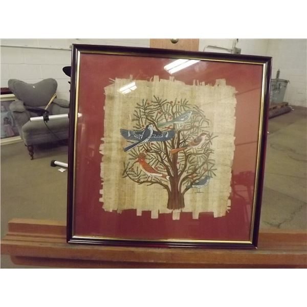 Original Egyptian painting on papyrus. 5 birds in a tree (O)