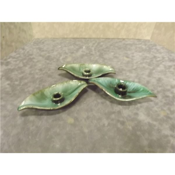 Blue Mountain Handcrafted Pottery 3 leaf shaped candle holders Marked (AL)
