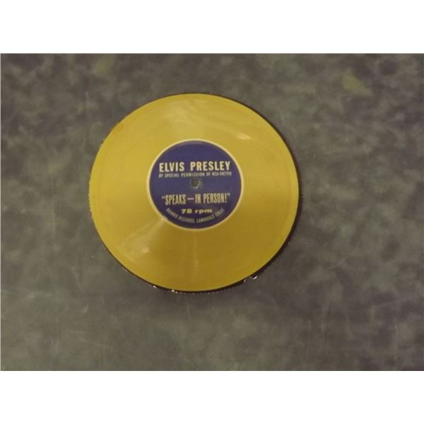 """Very Rare Elvis Presley 78 rpm record. By special permission of RCA-Victor """"Speaks - In Person"""" 78 r"""