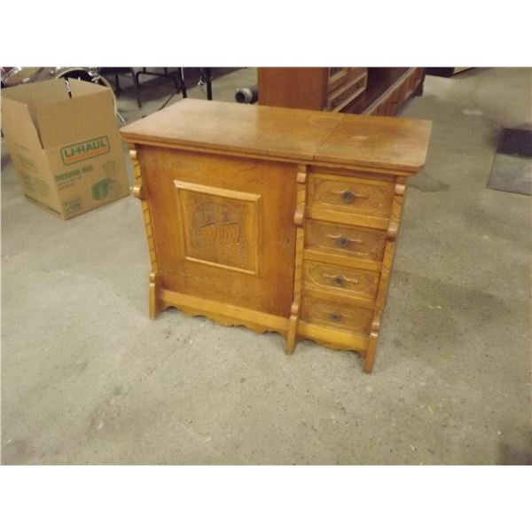 Antique White Oak Sewing Cabinite, from Holland (DQ)