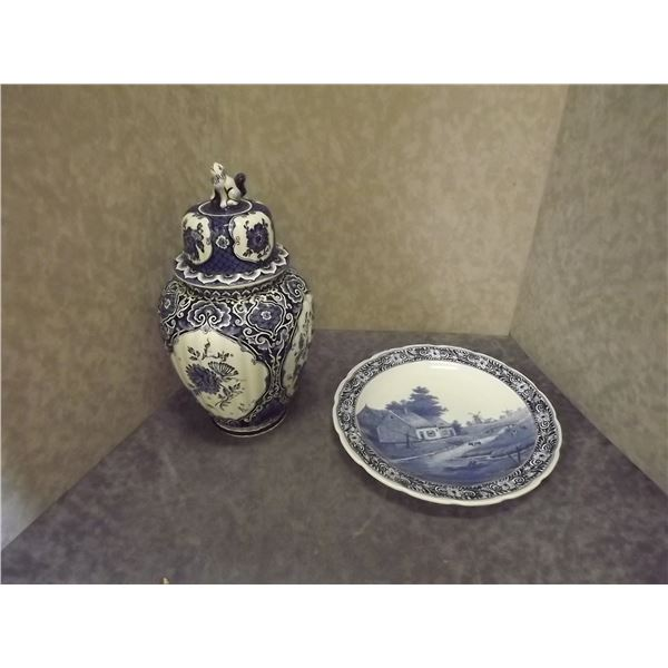 Maastricht Ceramic Pot Royal Sphinax & Delft Royal Sphinx Plate (DQ)