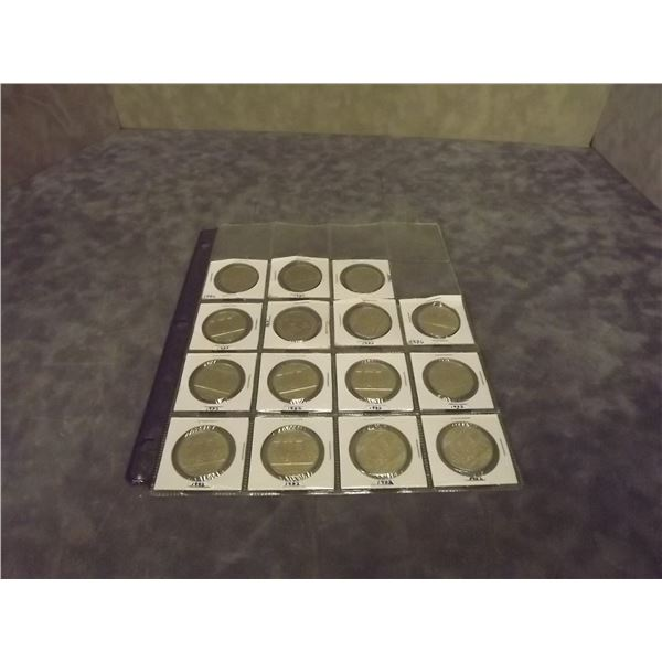 Sheet of collector circulated Silver dollars. Various years 1968 - 1986. 15 coins total (D&M)