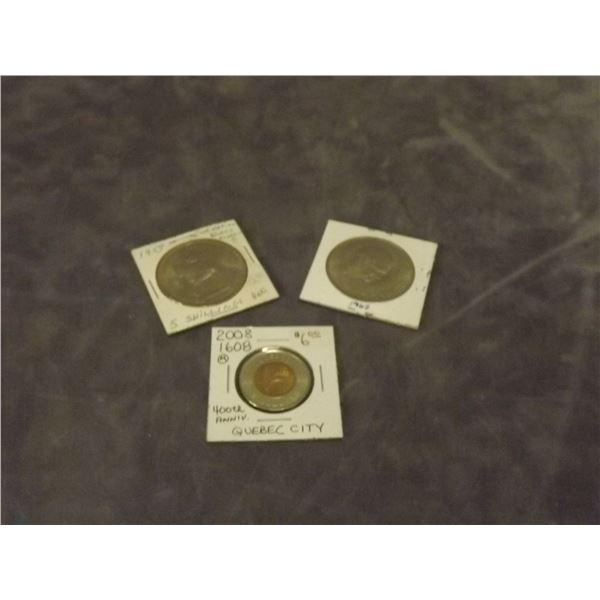 1 Britsh token collector circulated, 1 British 5 shillinges coin collector circulated, & one collect